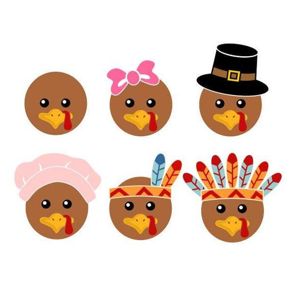 Tête à Turquie Thanksgiving couper PNG SVG Design DXF & eps dessins camée fichier Silhouette