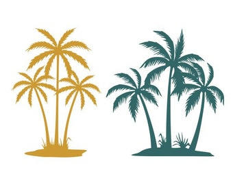 Palm Tree Island Cuttable Design SVG PNG DXF & eps Designs Cameo File Silhouette
