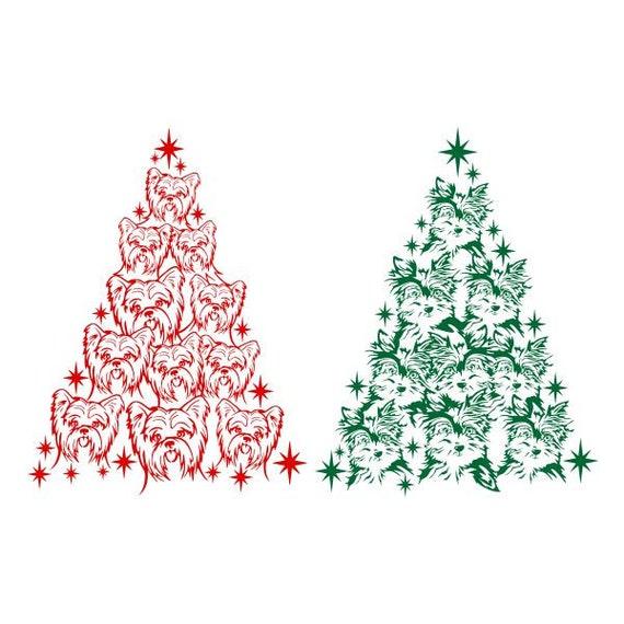 Yorkie Dog Yorkshire Christmas Tree Cuttable Design Svg Png Etsy