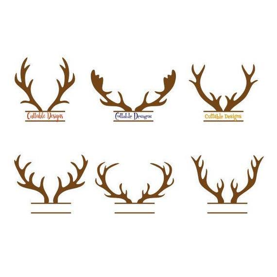 Reindeer Antlers Deer Frame Straight Monogram Christmas Cuttable Design SVG  PNG DXF & eps Designs Cameo File Silhouette