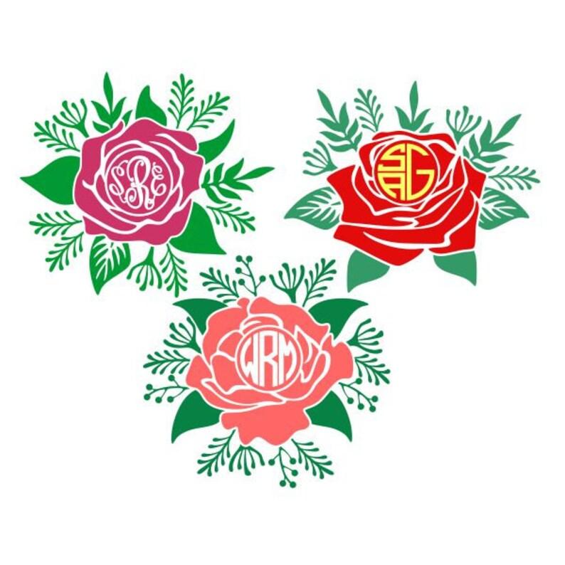 Fleur Rose Cadre Monogramme Couper Design Png Svg Dxf Eps Etsy