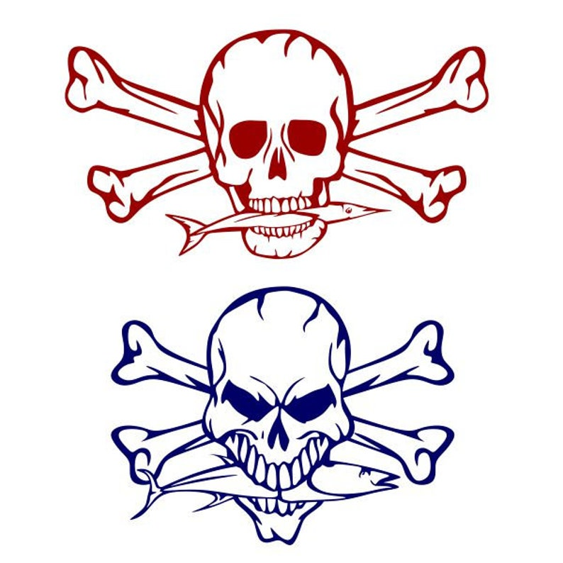 Skull Crossbones Fish Cuttable Design Svg Png Dxf Eps Etsy