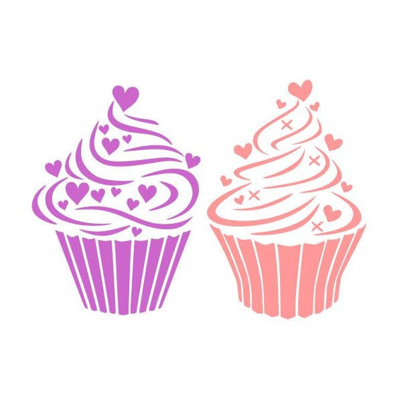 Cupcake Hearts Love Cuttable Design Svg Png Dxf Eps Designs Etsy