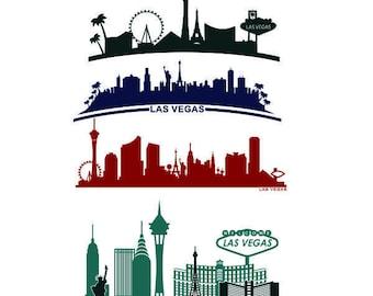 Skyline Las Vegas Lv Nevada City landscape Cuttable Design SVG PNG DXF & eps Designs Cameo File Silhouette