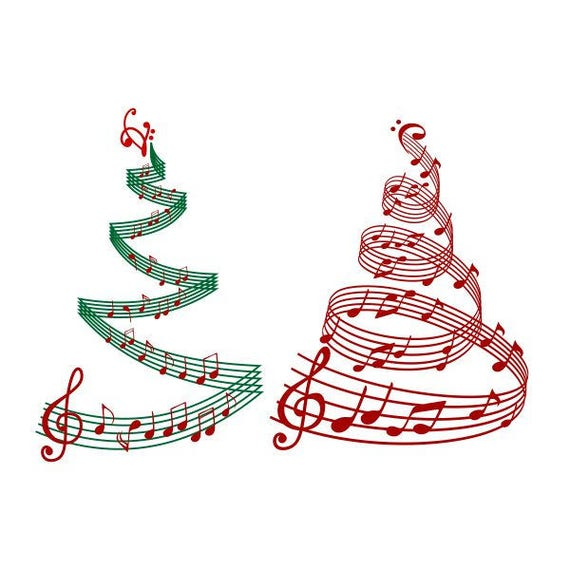 Christmas Tree Musik Noten Schneidbare Design Svg Png Dxf Etsy