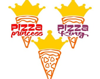 Pizza King Princess Cuttable Design SVG PNG DXF & eps Designs Cameo File Silhouette