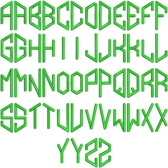 Hexa Hexagon Monogram Embroidery Font Alphabet Letters Instant Etsy
