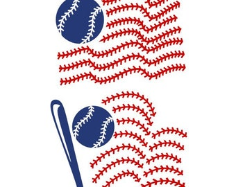 Baseball Flag Usa United states of america Cuttable Design SVG PNG DXF & eps Designs Cameo File Silhouette