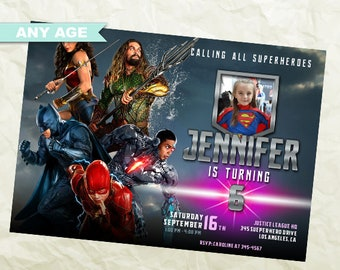 Justice League Invitation Birthday Party DC Superheroes Printable Picture Invite Digital Card Kids INV 068