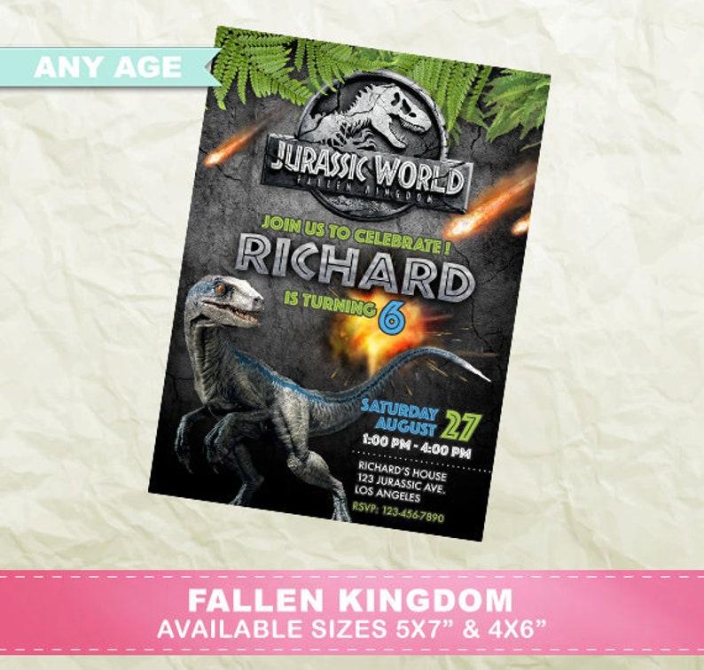 Jurassic World Fallen Kingdom Invitation