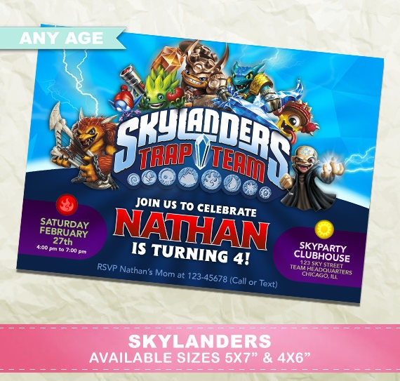 Skylanders Invitation Birthday Party