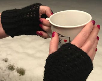 Crochet Fingerless Gloves Wrist Warmers
