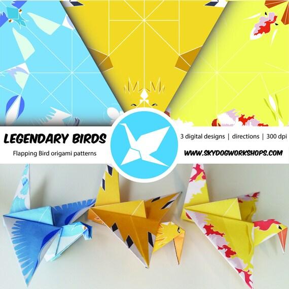 Origami Pokemon Leggendario Uccelli Uccelli Di Sbattimento Etsy