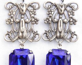 Stunning prints neo Victorian filigree lace earrings big blue glass stones