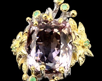 Destash Studio cheap: sumptuous fine jewelry ring 20 CT Emerald T58.5 Silver 925 gold 14 CT bi-color Ametrine gemstones