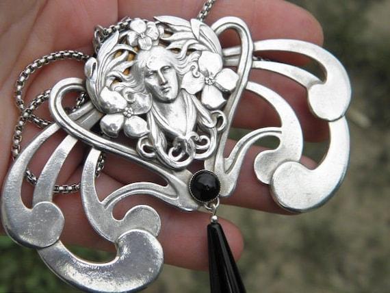 Rare! Exceptional Art Nouveau necklace huge art no