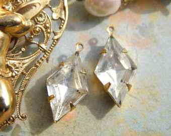 Set of 2 large pendants Retro 21x12mm stones in Crystal Venetian glass jewelry vintage gold metal holder