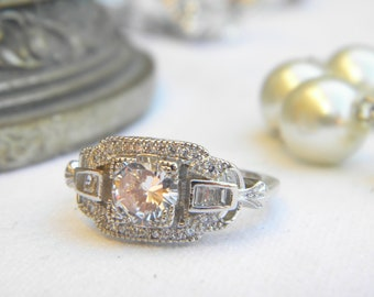 Lovely ring setting style art deco stones T57 cubic zirconia 925 sterling silver rhodium finish