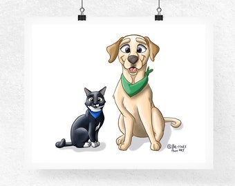Cat Nursery Print, Dog Nursery Decor, Animal Art, Cartoon Portrait, Kids Room Decor, Cat Lover Gift, Dog Art, Cat Art, Dog Print, Cat Print