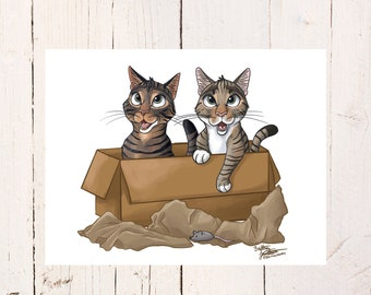 Cat Print, Tabby Cat Friend Gift, Cat Lover Gift, Crazy Cat Lady Christmas Gift Ideas, Cute Kitty Cat Illustration, Cat Art, Pet Presents
