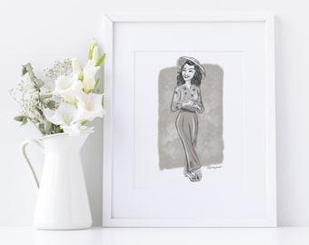 1940s Fashion Print, Vintage 1940s Fashion Illustration, 40s Black and White Print Grandma Gift, Christmas Gift, History Buff Sketch Art,