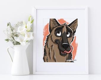 German Shepherd Dog Print, German Shepherd Wall Art, German Shepherd Gift, Dog Art, Pet Sympathy Gift, Pet Memorial Gift, Pet Parent Gift