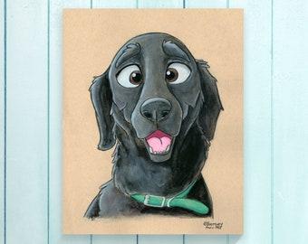 Black Labrador Dog Print, Cartoon Portrait, Black Labrador Retriever Dog Lover Gift, Pet Caricature, Pet Sympathy Gift, Black Lab Dog Art