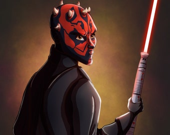 Darth Maul Phantom Menace Star Wars Art Print, Star Wars Drawing, Dark Maul, Clone Wars, Sith, Star Wars Poster, Star Wars Office Decor