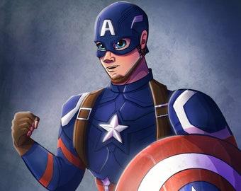 Captain America Print, Avengers Age of Ultron, Avengers Wall Art, Steve Rogers, Avengers Room Decor, Marvel Gifts, Superhero Prints