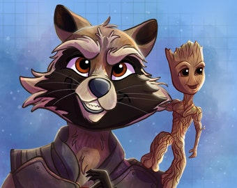Guardians of the Galaxy Print, Guardians of the Galaxy 2, Rocket Raccoon Groot Art, Baby Groot, I am Groot Marvel Gifts, Avengers Wall Art