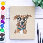 Disney Style Pet Portrait - Small Traditional (Custom Cartoon Pet Portrait, Watercolor Pet Portrait Custom Dog Painting Cat, Pet Loss Gifts)