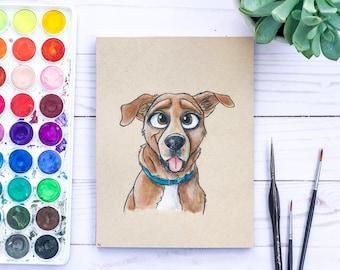 Custom Pet Illustration Cartoon Portrait, Disney Style Drawing Custom Pet Portrait, Dog Painting, Dog Dad Custom Pet Portrait Watercolor