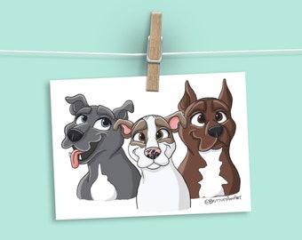 Pit Bull Dog Art, Pitbull Dog Lover Gift, Animal Wall Art, Pet Presents, Dog Walker Gift, Dog Mom Christmas Gifts, Cute Gifts Under 20