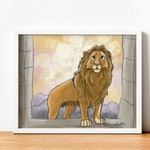 Aslan Chronicles of Narnia Print, Lion Witch Wardrobe Art Print, Christian Wall Art, CS Lewis, Lion Print Classroom Decor, Narnia Art Print