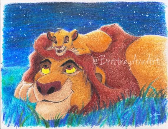 Simba And Mufasa Lion King Art Print The Lion King Artwork Disney The Lion King Art Print Disney Father Son Gift Simba Art Print