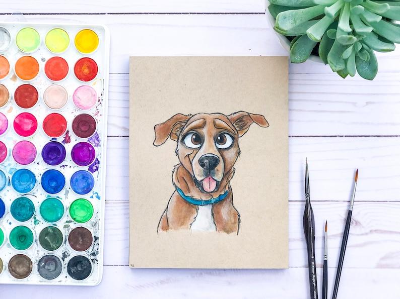 Custom Pet Illustration Cartoon Portrait Disney Style Drawing image 0