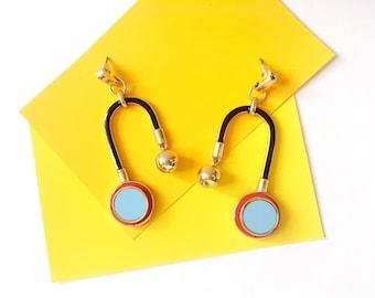 Statement Earrings - Statement Drop Earrings - Geometric Drop Earrings - Enamel Drop Earrings - Modern Minimal Drop Earrings