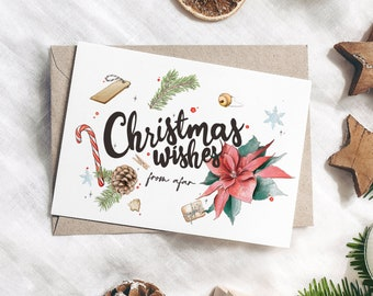 Hand Lettered Christmas Wishes From Afar Cards with Cute Holly, Pine & Christmas Ornaments Watercolour Illustrations
