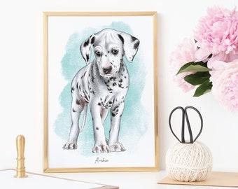 Custom Personalised Pet Portrait Digital Watercolour Illustration Wall Art Decor