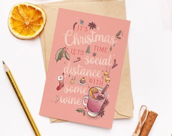 Funny 'Social Distancing' Hand Lettered Christmas Cards with Cute Mulled Wine, Holly & Christmas Ornaments Illustrations