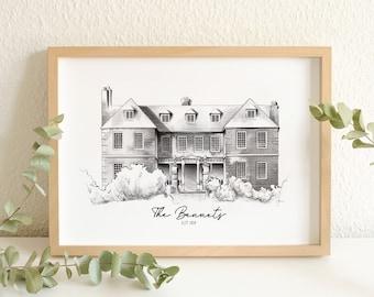 Custom Personalised Home House Portrait Digital Watercolour Pencil Illustration Wall Art Decor