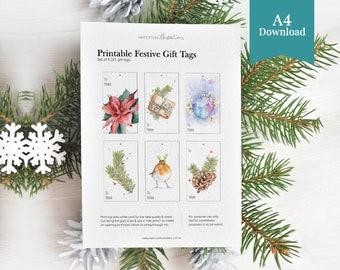 Printable Handmade Christmas Gift Tags Set with Watercolour Ornaments Illustrations