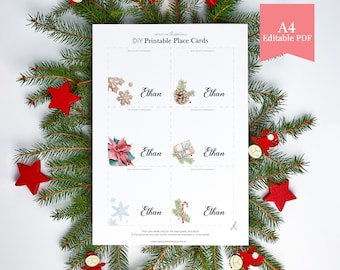 Printable Christmas Place Cards with Watercolour Ornament Illustrations