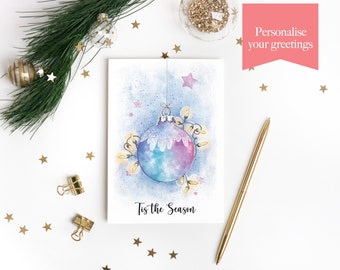 Personalised Christmas Cards with Whimsical Bauble and Fairy Lights Watercolour Illustration