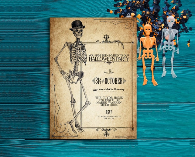 Printable Halloween Vintage Antique Party Invitation