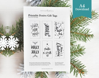 Printable Hand Lettered Christmas Gift Tags with Ink Ornament Illustrations
