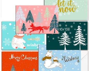 30 bulk merry christmas cards christmas set happy holiday cards wildlife animals in snow winter christmas trees cards - Cheap Christmas Cards In Bulk