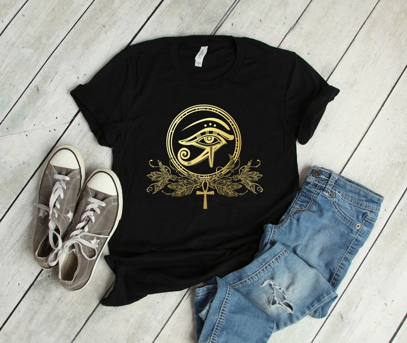 All Seeing Eye of Ra - Egyptian Sun God - Ankh - Short-Sleeve Unisex T-Shirt
