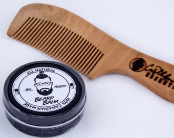 Bro Naturel Beard Balm & Large Peach Wood Comb