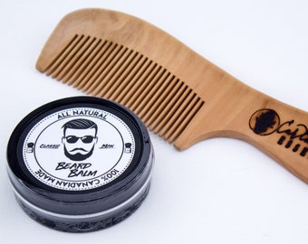 Classic Man Beard Balm & Large Peach Wood Comb
